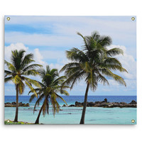 Playa Chen Rio - Wall Tapestry, Beach Tropical Palm Trees Tapestry Accent, Blue & Green Boho Chic Surf Style Decor. In Small Medium Large