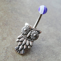 Belly Button Ring Owl Navel Jewelry