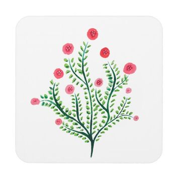 Abstract Spring Plant Pink And Green Ink Drawing Beverage Coaster