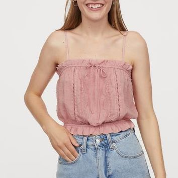 Short Top with Lace - Light pink - | H&M US