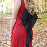 Maroon and Black Bow Back Tunic Dress