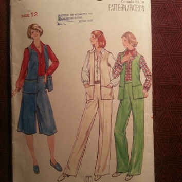 Uncut 1970's Butterick Sewing Pattern, 5863! Size 12 Small/Medium/Women's/Misses/Bell Bottom Pants/Flared Shorts/Sleeveless Vest Tops