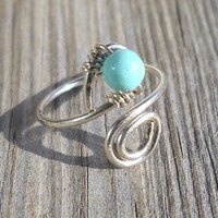 Light Turquoise Wrapped Silver Wire Spiral Toe Ring Adjustable Size