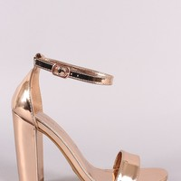 Mirror Metallic Ankle Strap Open Toe Chunky Heel
