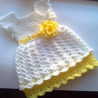 White Yellow Baby Frock,Toddler Clothes,  Newborn Outfit Dress Shower gift Photo prop Take home  Christening Infant Summer Dress