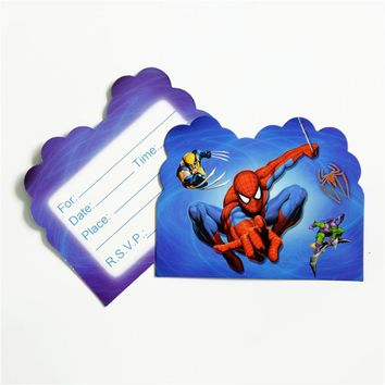 10pcs/lot Invitation Card Spiderman Avengers Superhero Kids Birthday party supply event party supplies party Decoration Set
