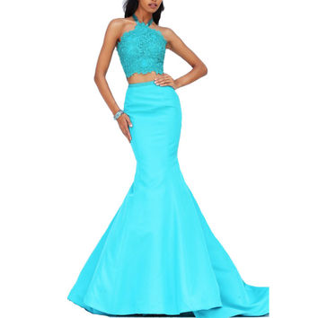 New Halter Lace Top with Beaded 2 Piece Prom Dresses Sexy Mermaid Evening Party Gowns Vestido De Festa Long Formal Dress