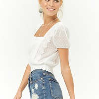 Sheer Crochet-Trim Dotted Top