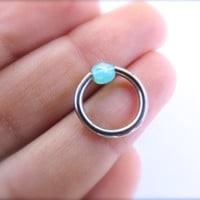 14 Gauge Mint Green Opal Captive Hoop Faceted Opalite Ear Piercing Earring Nipple Body Belly Button Jewelry Ring 14ga 14g G Ga