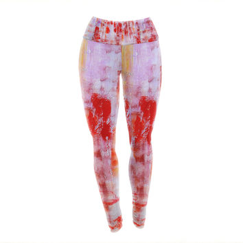 "Malia Shields ""Painted Cityscape"" Pink Red Yoga Leggings"