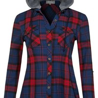 SALE Flannel Hooded Navy Red Plaid