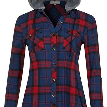 Flannel Hooded Navy Red Plaid