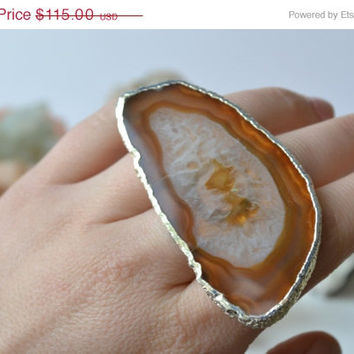 ON SALE SUNSHINE Daydream /// Size 7 /// Agate Slice Ring /// Electroformed Fine Silver
