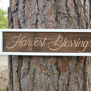 "Joyful Island Creations ""Harvest Blessings"" wood sign, fall sign, fall decor, framed wood sign, entryway sign, reclaimed wood sign"