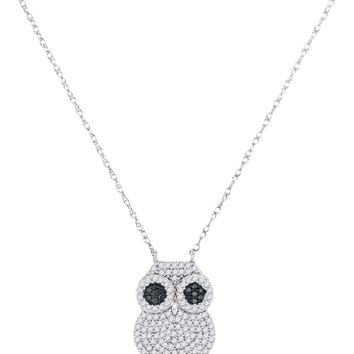10kt White Gold Womens Round Black Colored Diamond Owl Bird Pendant Necklace 3/8 Cttw
