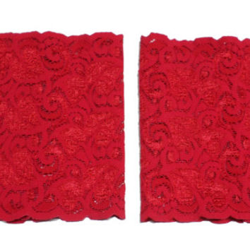 Red Spandex Floral Scalloped Stretch Lace Satin Bow Pearl Peek a Boo Boot Cuffs