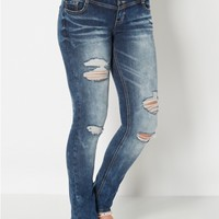 High Waist 3-Shank Destroyed Skinny Jean