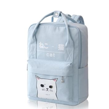 WISHOT Printed small fresh Fashion lovely Funny cute cat bag canvas backpack Girls women SchoolBag travel Bag Pink