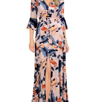 Women's Vintage Deep V Bell Sleeve Floral Maxi Dress