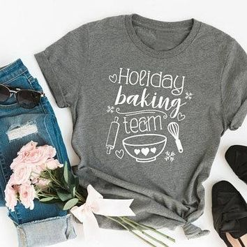 Holiday Baking Team Graphic Christmas t-Shirt funny bowl Spoon graphic women fashion festival gift cotton funny tees girl tops