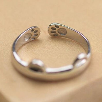 Lovely Cat Ring Paw Pattern Open Adjustable Ring