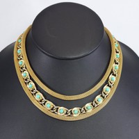 Gold Tone Mesh Chain Choker with Lucite Turquoise Faceted Prong Set Rhinestone, Mid Century 1940's 1950's Vintage Triple Strand Circle links