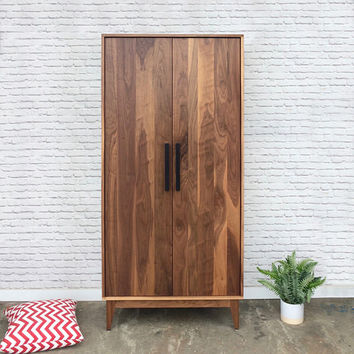 Dumont Armoire - Solid Walnut - Mid Century Modern Inspired