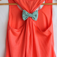 Coral with Teal Bow Tank