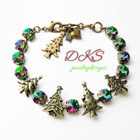Christmas Sparkle Swarovski 8mm Bracelet, Holiday, Antique Brass, Lever Backs, Christmas Tree,DKSJewelrydesigns, FREE SHIPPING