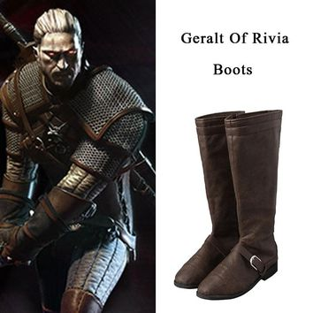 Wild Hunt Geralt Of Rivia The Witcher 3 Cosplay Costume Shoes Unisex High Boots Hot Halloween Christmas Party Props Accessories