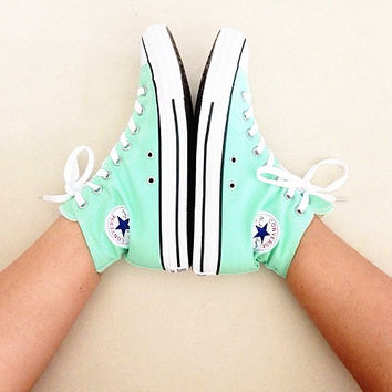 Converse All Star Sneakers canvas shoes for Unisex sports shoes high-top mint green