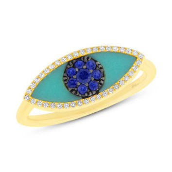 0.09ct Diamond & 0.62ct Blue Sapphire & Composite Turquoise 14k Yellow Gold Eye Ring
