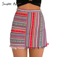 Simplee Apparel vintage high waist women mini skirt summer new style bodycon pencil skirt Ethnic striped short girls skrits