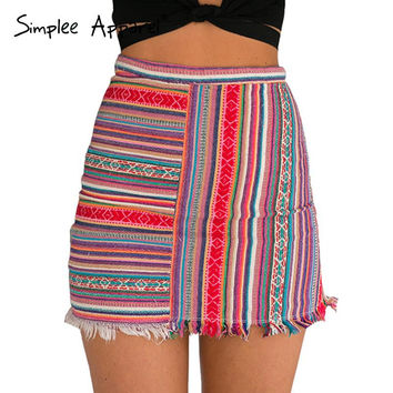 Vintage high waist women mini skirt