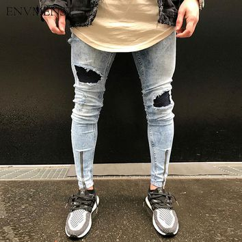 2017 Newest men PU leather patchwork ripped jeans ankle zipper punk rock denim pants mens hip hop skinny stretch biker jeans