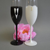 Hand painted Wedding Toasting Flutes Set of 2 Personalized Champagne glasses  Black Suit White Wedding dress with Lace