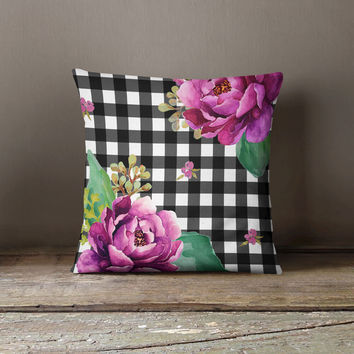 Pink Sunrise in Gingham Throw Pillow