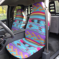 Reserved for Krissy 1 Set of Purple Turquoise Tan Aztec Print Seat Covers and 1 piece steering wheel cover Custom Made.