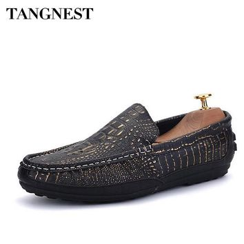 Tangnest Man PU Leather Driving Shoes Crocodile Pattern Shallow Slip-On Moccasins Man Loafers Fashion Men Casual Shoes XMR2531