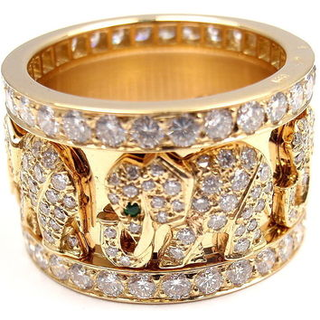 CARTIER Emerald Diamond Yellow Gold Elephant Ring