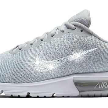 Nike Air Max Sequent + Crystals - Light Grey/White