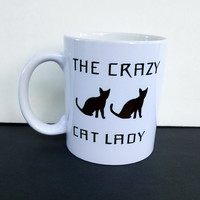 The Crazy Cat Lady Coffee Mug, Funny Coffee Mug, Gift Ideas, Personalized Coffee Mug, Office Gifts