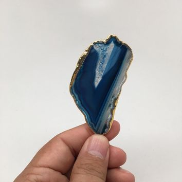 83 cts Blue Agate Druzy Slice Geode Pendant Gold Plated From Brazil, Bp1048
