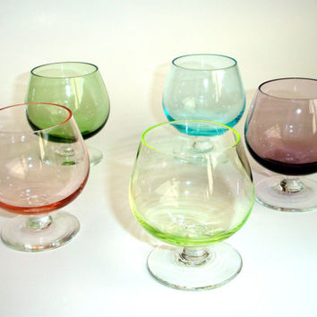 Colorful Vintage Brandy Snifters, Mini Cordial Glasses, Cocktail or Shot Glasses, Dessert Cups,1960s Glassware