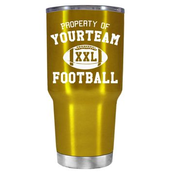 TREK Custom Property of Team Football on Translucent Gold 30 oz Tumbler Cup