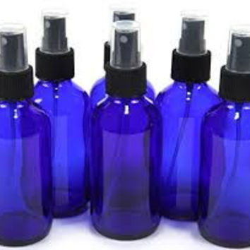 The Oily Essentials 100ml Cobalt Blue Boston Round Glass Fine Mist Spray Bottles (Set Of 6)