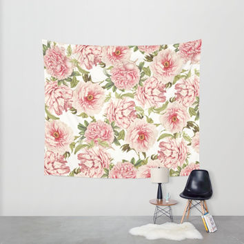 old fashioned peonies Wall Tapestry by Sylvia Cook Photography