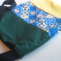 Soccer Patchwork Kids Bag in Yellow Green and Blue - Overnight Bag - Book Bag