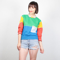Vintage 80s Sweatshirt COLOR BLOCK Sweater Collared Sporty Sweatshirt Pullover Tshirt Jumper New Wave Rainbow Athletic Slouch Top M Medium