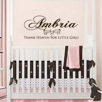 Personalized Thank Heaven For Little Girls Vinyl Wall Art